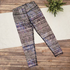 Prana Leggins Medium Purple Black  White Pattern